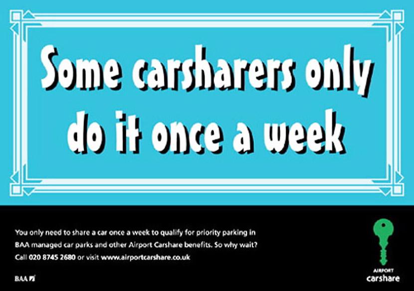 BAA Carshare bumper sticker Ad