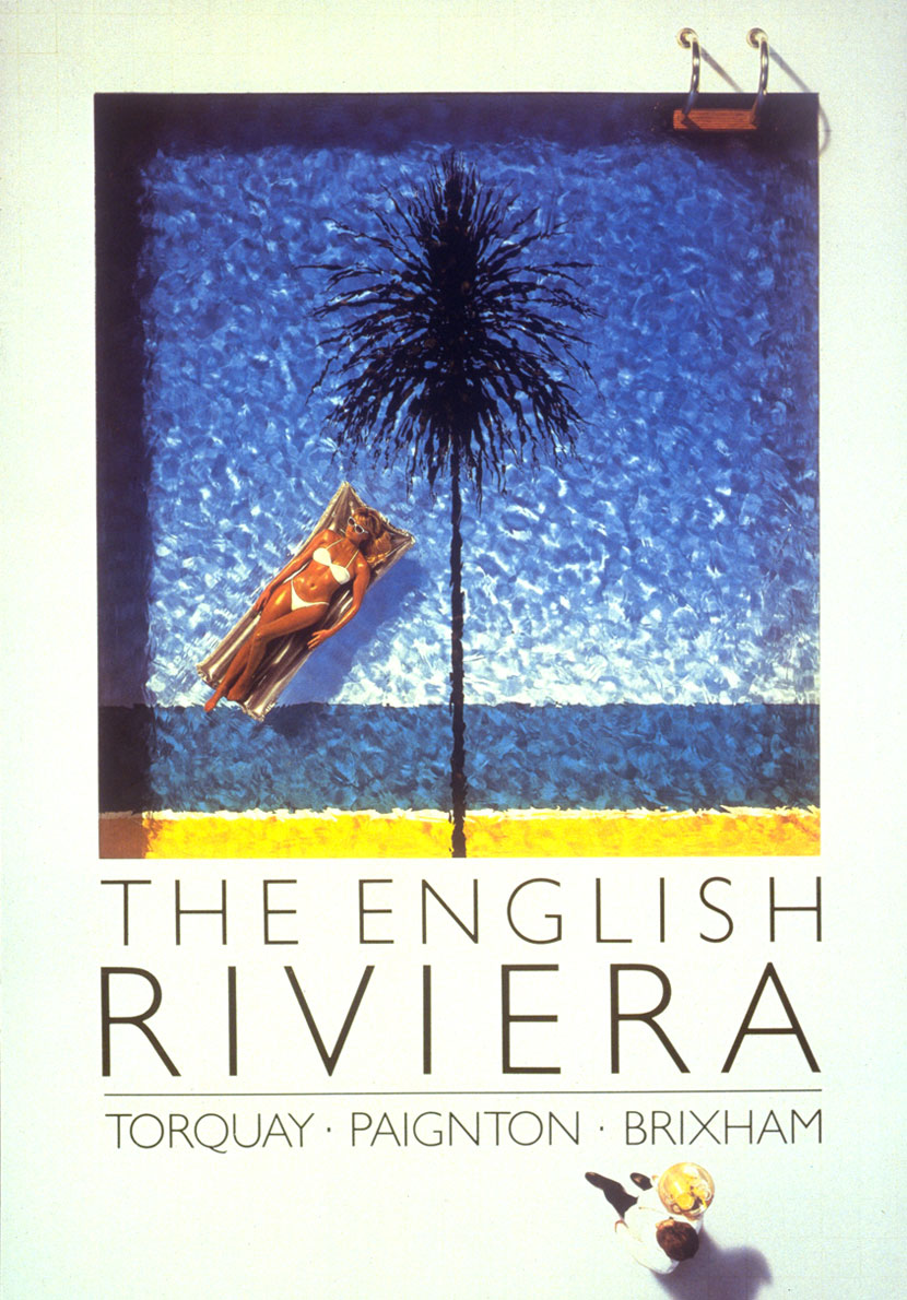 English Riviera swimming pool poster