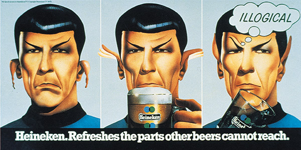 Leonard Nimoy as Spock in illogical Heineken poster