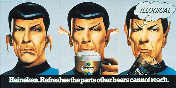 Leonard Nimoy as Spock in illogical Heineken poster