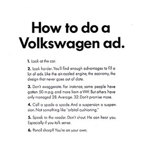 How to do a Volkswagen ad.