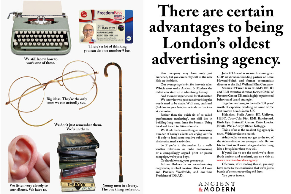 Ancient and Modern agency house ad